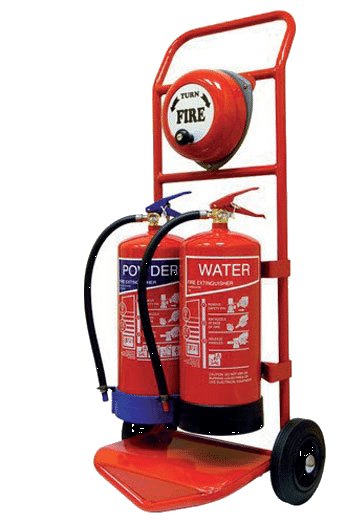 Fire Extinguishers trolley wheels and bell